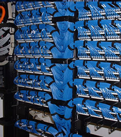 Patch cables on equipment racks